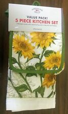 5 pc Kitchen Set: 2 Pot Holders,1 Oven Mitt & 2 Towels, Sunflowers by Am