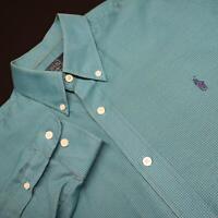 Mens Polo Ralph Lauren Custom Fit Teal Plaid Oxford Dress Shirt Size 16-33 Large