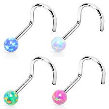 punkjewelry Piercing de nariz Ópalo - Juego de 4 316l acero quirúrgico