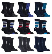 Farah - 3 Pack Mens Cushioned Padded Sole Soft Top Patterned Cotton Dress Socks