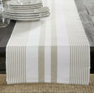 Hooper Striped Table Runner And 6 Matching Napkins Sandstone/white