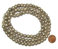 Round White Metal Ethiopian Beads 8mm African Silver Large Hole 28 Inch Strand
