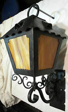 1920S STYLE WROUGHT IRON SPANISH REVIVAL EXTERIOR WALL SCONCE SLAG GLASS LAMP