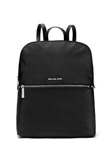 New Michael Kors Medium Polly Nylon Slim Backpack Black NWT