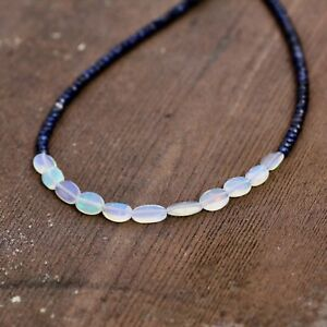 Natural Opal Sapphire Necklace Solid 14k White Gold 5th 10th 45th Anniversary
