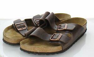 92-14 $135 Men's Sz 46 M Birkenstock Arizona Leather Soft Footbed Sandals