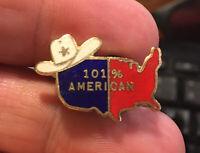 101 Percent American enamel pin NOS vintage cowboy hat star hat lapel patriotic
