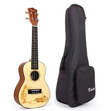 Kmise Solid Spruce Acoustic Concert Ukulele Uke Hawaii Guitar 23 Inch W/Bag