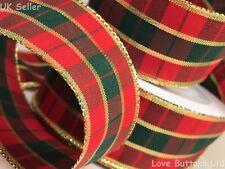 40mm Wide Cablata Rosso Verde e Oro Natale Tartan Nastro 20m rotolo completo