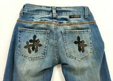 Cowgirl Tuff Co Blessed Bootcut Jeans Women 25x33 Blue  Low Rise Leather Crosses