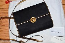 SALVATORE FERRAGAMO Black Suede Gold Small Mini Bag Purse Crossbody