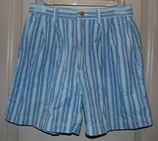 Dockers Blue Striped Pleated Front Shorts Women's Size 6 Petite