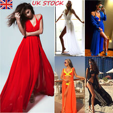 UK Womens Summer Party Sleeveless Long Maxi Dress Swimwear Cover Up Beach Dress