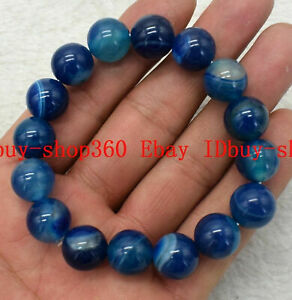 Natural 8/10/12mm Blue Striped Agate Round Gemstone Beads Bracelet 7.5'' AAA+
