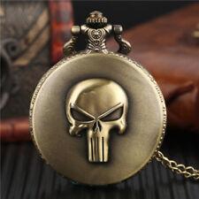 Vintage Skull Head Analog Quartz Pocketwatch Men Women Necklace Chain Gift