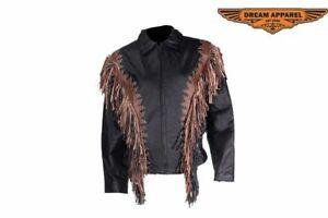 Women's Motorcycle Fringed & Studded Leather Jacket w/ Gathered Around Waist