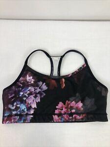 Lululemon Women's Size 8 Spring Has Sprung Black Floral Sports Bra