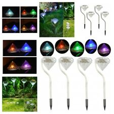 Portable Led Outdoor Lights Solar Powered Diamond Stake Yard Lawn Garden Lamps