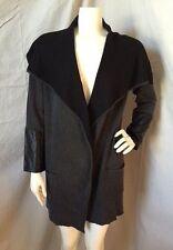 Ava Dark Gray/Black Oversized Draped Cardigan Coat w/ Leather Sleeves S NWT