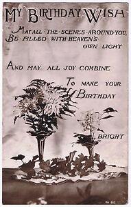 My Birthday Wish -  Vintage Postcard - Floral Design 1915