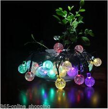 30 bola de cristal de hadas multi LED de luces de jardín colgante cadena de Luces de energía solar
