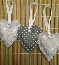 set of 3 fabric hanging hearts grey floral and polka dots bedroom decoration