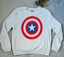 Marvel Long Sleeve Sweater White Captain America Classic Shield Size Large