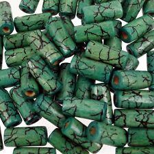 VERDE GIADA Crackle 50 PZ PERLINE IN LEGNO 8x15mm tubi a forma di perline mix W187