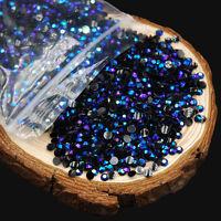 2000Pcs 3D Round Rhinestones Glitter Crystal Gems Tips Decoration Nail Art 2mm