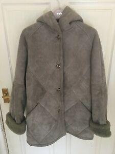 Lovely Genuine Creation Berolina Pale Green Sheepskin  Hooded Coat Size Medium