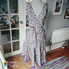 Size 10-12 Summer Silk Indian Dress Beautiful Blue Pattern