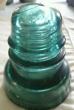 Vintage Glass Insulator Hemingray No. 40 Teal Blue Beaded Skirt, Bubbles Vgc