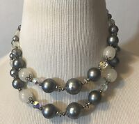 Vintage Bead Choker Necklace Gray  White Clear Graduated Beads Double Strand