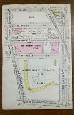 1912 AMERICAN LEAGUE PARK MANHATTAN NEW YORK Map Rare Original YANKEES BASEBALL