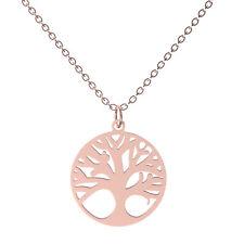 Damen Halskette mit Anhänger Baum des Lebens Edelstahl Kette Modekette Rosegold