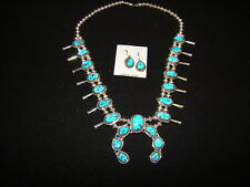 Sterling Silver and Turquoise Squash Blossom Earring Set by Gloria Pinto Navajo