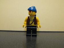 Lego Pirate Minifigure With Chest Hair & Blue Rag Head Wrap Dark Blue Legs