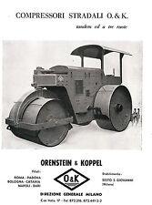 PUBBLICITA' 1956 RULLO COMPRESSORE TANDEM TRE RUOTE O&K ORENSTEIN & KOPPEL
