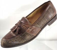 Johnston & Murphy Cellini Kiltie Tassel Woven Leather Loafers Italian Shoe Sz 12