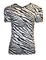 MEN'S ZEBRA ANIMAL PRINT T-SHIRT TOP FANCY DRESS COSTUME GOTH PUNK EMO SHIRT
