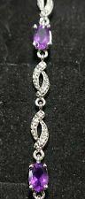 "STERLING SILVER 7"" Natural Amethyst & Diamond Link Bracelet"