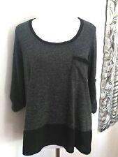Pleione Women's Top Gray Black High low Hemline 3/4 Sleeves size S