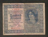 Austria 1000 Kronen 1922 # 051714 Osterreichisch Ungarische Bank Osterreich Bank