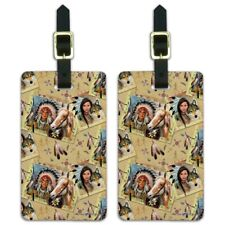 Native American Horse Wolf Southwestern Pattern Luggage ID Tags Cards Set of 2