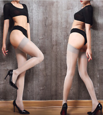 Women Sexy Wide Border 15D Oil Glossy Thigh High Stockings Gray Club Lingerie