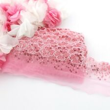1 Meter of pink floral lace sequin trim for clothing and crafts