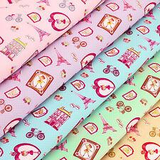 Cotton Fabric FQ Eiffel Girl Heart Bicycle Flower Macaron Polka Dot Cartoon VA96