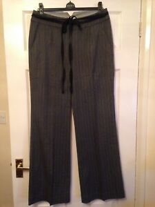 Laura Ashley Grey Pinstriped Trousers - Size 12