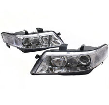 04-05 ACURA TSX SEDAN 4DR PROJECTOR HEADLIGHTS LAMPS CHROME LEFT+RIGHT PAIR USED