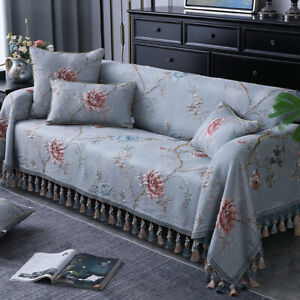 Jacquard 3D Floral Tassel Couch Cover 2/3/4 Seater Slipcover L Shape Sofa Towel
